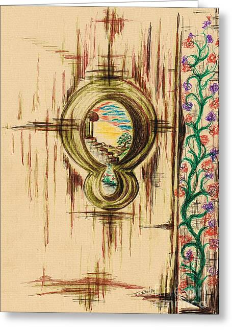 Within A Tree Greeting Cards - Garden through the key hole Greeting Card by Teresa White