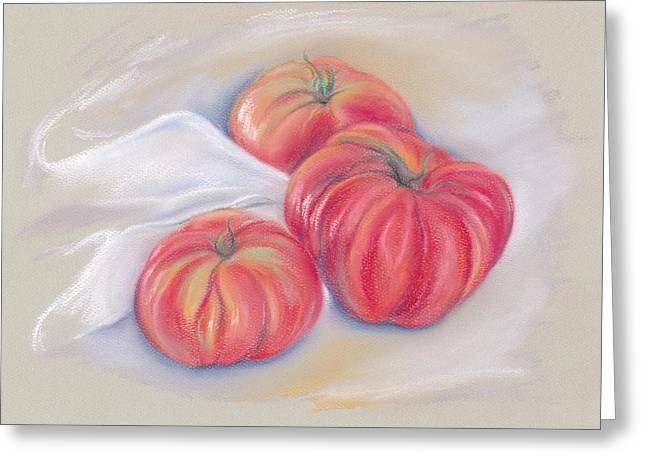 Tomato Pastels Greeting Cards - Garden Tomatoes with Drape Greeting Card by MM Anderson