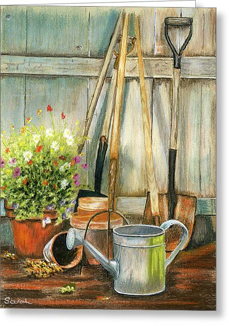 Garden Shed Pastels Greeting Cards - Garden Tools and Planter Greeting Card by Sarah Dowson