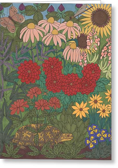 Flower Boxes Drawings Greeting Cards - Garden Treasures Greeting Card by Pamela Schiermeyer