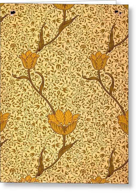 Green And Yellow Tapestries - Textiles Greeting Cards - Garden Tulip Wallpaper Design Greeting Card by William Morris