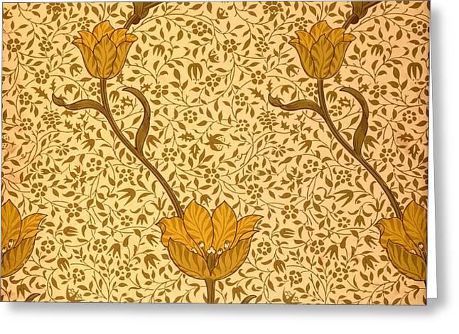 Garden Tulip Wallpaper Design Greeting Card by William Morris