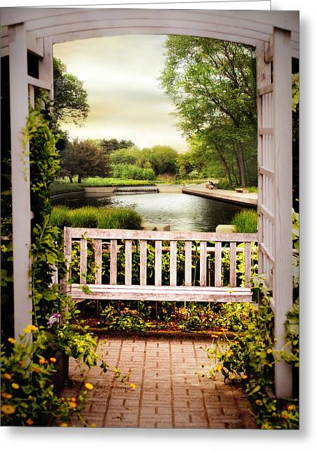 Trellis Digital Greeting Cards - Garden With a View Greeting Card by Jessica Jenney