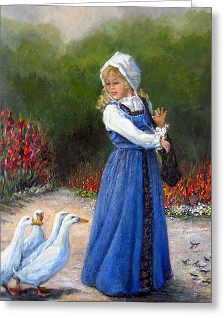 Garden Visitors Greeting Card by Donna Tucker