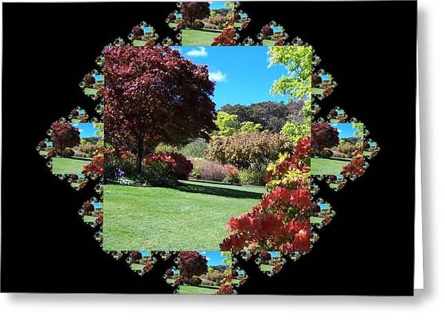 Garden Scene Mixed Media Greeting Cards - Garden Walk Fractal Greeting Card by Nancy Pauling