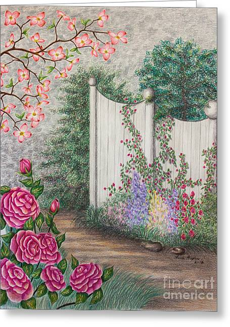Rocks Drawings Greeting Cards - Garden Walkway Greeting Card by Lena Auxier