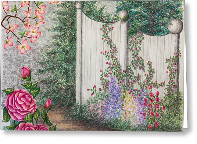 Garden Walkway Greeting Card by Lena Auxier
