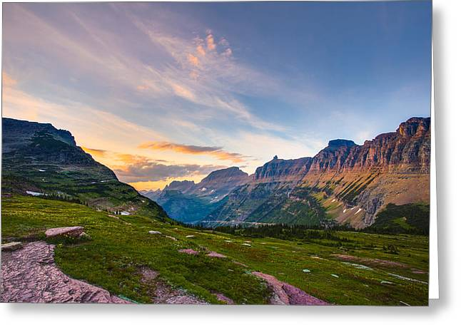 West Glacier Greeting Cards - Garden Wall Sunset Greeting Card by Adam Mateo Fierro