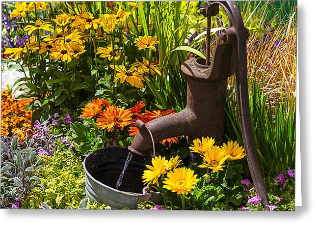 Rusty Greeting Cards - Garden Water Pump Greeting Card by Garry Gay