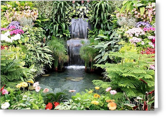 Garden Photographs Greeting Cards - Garden Waterfall Greeting Card by Carol Groenen