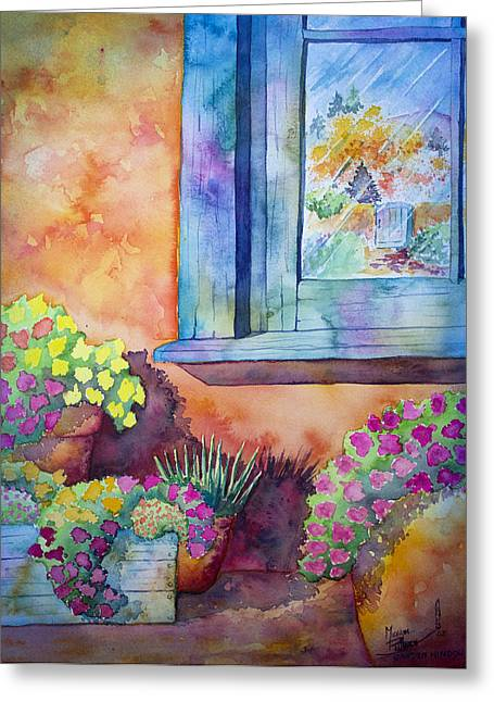 Las Cruces Landscape Greeting Cards - Garden Window Greeting Card by Michael Bulloch