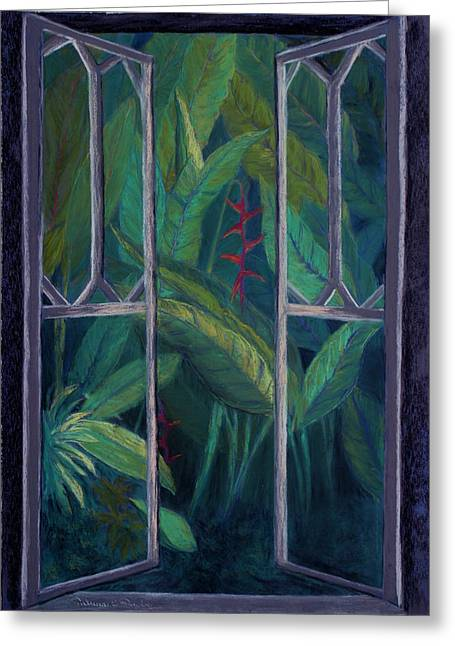 Costa Pastels Greeting Cards - Garden Window Greeting Card by Patricia Beebe