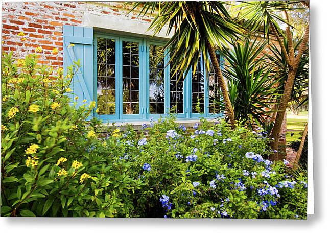 Historic Home Greeting Cards - Garden Windows Greeting Card by Rich Franco