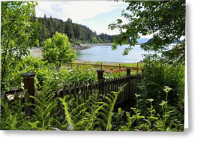 Juneau Park Greeting Cards - Garden with a View Greeting Card by Cathy Mahnke
