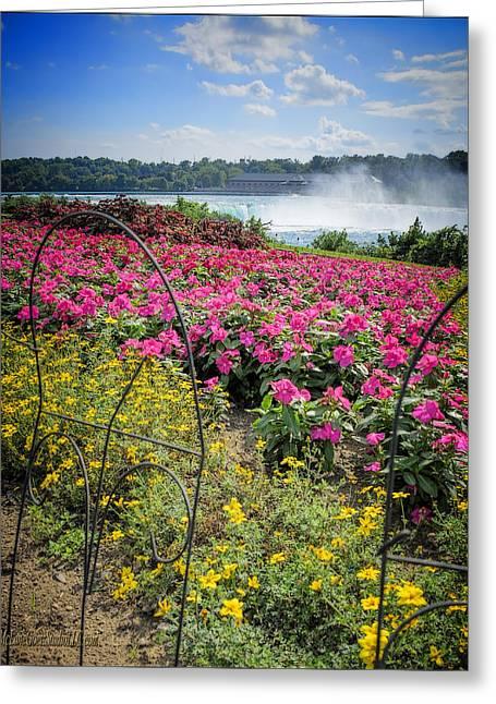 Prospects Greeting Cards - Garden with a view Niagara Falls Greeting Card by LeeAnn McLaneGoetz McLaneGoetzStudioLLCcom
