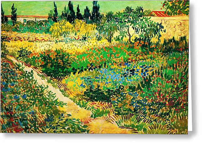 Seurat Greeting Cards - Garden with Flowers Greeting Card by Celestial Images