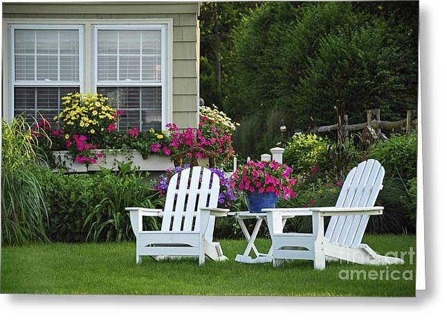 Weekend Photographs Greeting Cards - Garden with lawn chairs Greeting Card by Elena Elisseeva