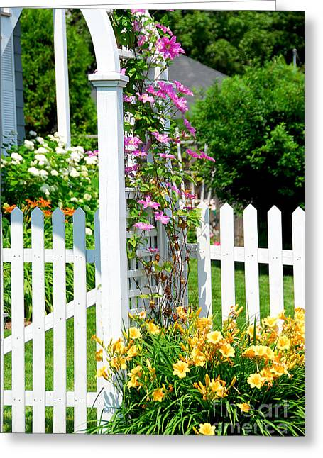 Lush Greeting Cards - Garden with picket fence Greeting Card by Elena Elisseeva