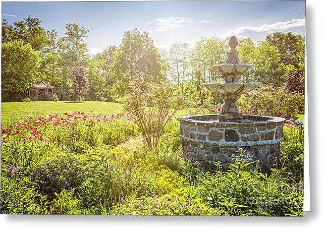 Gazebo Greeting Cards - Garden with stone fountain Greeting Card by Elena Elisseeva