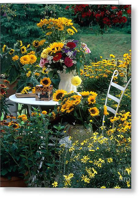 Hanging Planter Greeting Cards - Garden With Table And Chair Greeting Card by Hans Reinhard