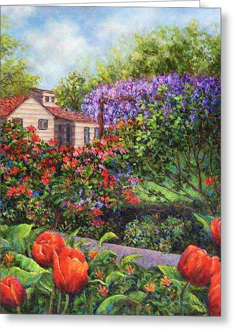 Green Greeting Cards - Garden With Tulips and Wisteria Greeting Card by Susan Savad