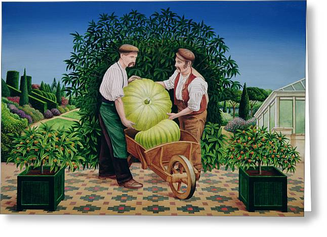 Planters Greeting Cards - Gardeners, 1990 Acrylic On Board Greeting Card by Anthony Southcombe