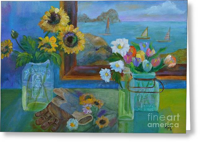 Water Jars Paintings Greeting Cards - Gardeners Bounty Greeting Card by Lynn Rattray