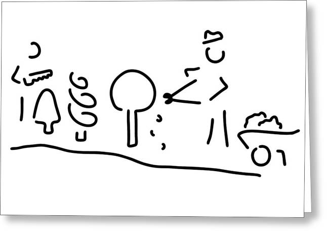 Cook Drawings Drawings Greeting Cards - Gardeners Gardening Cooked Greeting Card by Lineamentum
