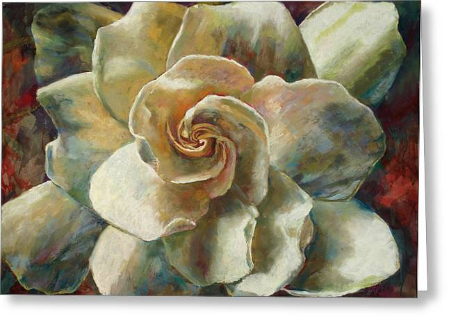 White Florals Greeting Cards - Gardenia Greeting Card by Billie Colson