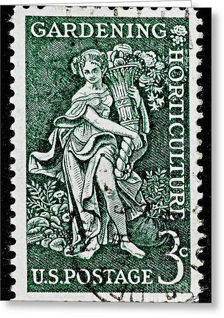 Symbol Of Plenty Greeting Cards - Gardening and Horticulture Vintage Postage Stamp Print Greeting Card by Andy Prendy