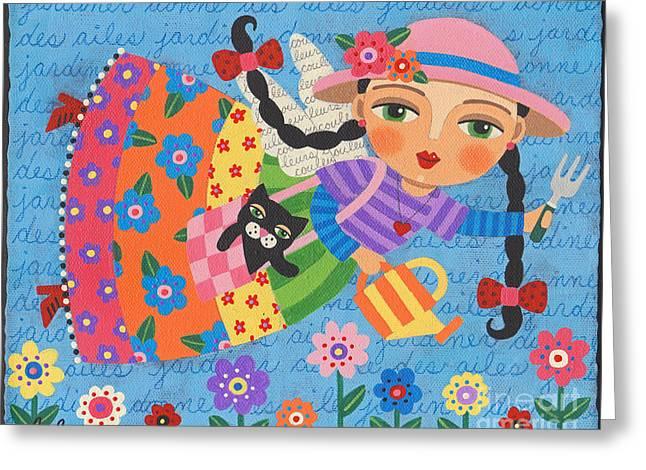Gardening Angel Greeting Card by LuLu Mypinkturtle