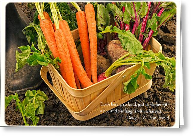 Fresh Vegetables Greeting Cards - Gardening Quote Greeting Card by Edward Fielding
