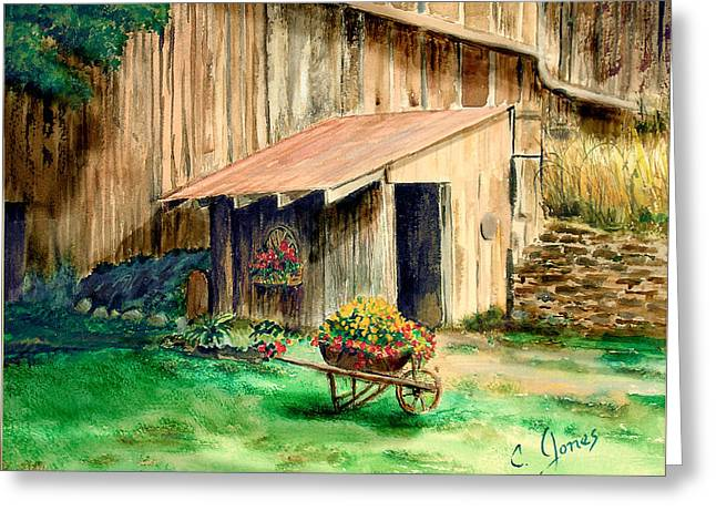 Shed Paintings Greeting Cards - Gardening Shed Greeting Card by C Keith Jones
