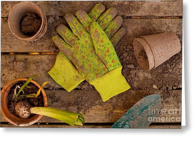 Gardening Tools Greeting Cards - Gardening Still Life Greeting Card by Jim Corwin