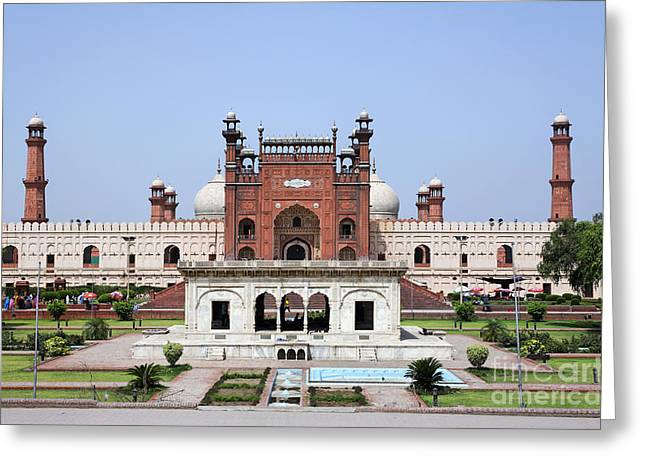 Punjab Greeting Cards - Gardens in front of Badshahi mosque in Lahore Pakistan Greeting Card by Robert Preston