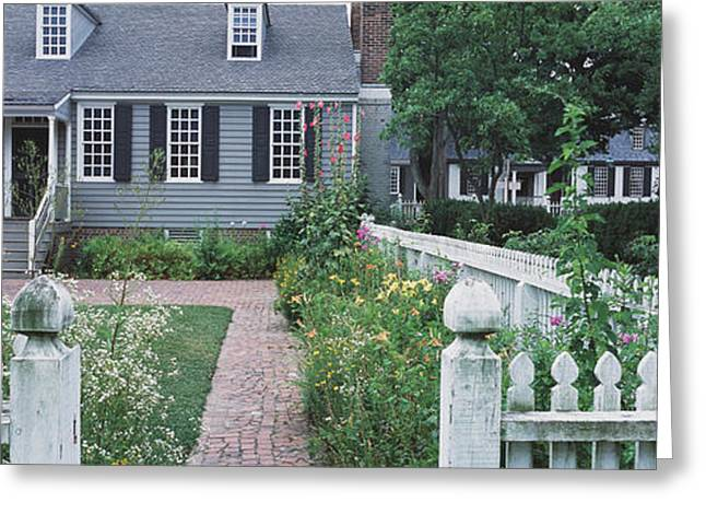 Colonial Architecture Greeting Cards - Gardens Williamsburg Va Greeting Card by Panoramic Images