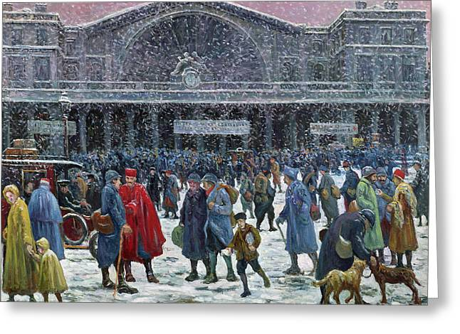 Train Stations Greeting Cards - Gare de lEst Under Snow Greeting Card by Maximilien Luce