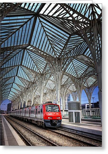 Rail Line Greeting Cards - Gare do Oriente Lisbon Greeting Card by Carol Japp