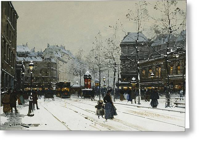 Youthful Greeting Cards - Gare du Nord Paris Greeting Card by Eugene Galien-Laloue