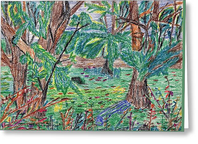Indiana Landscapes Drawings Greeting Cards - Garfield Garden Greeting Card by Michael Anthony Edwards