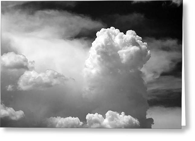 Grey Clouds Greeting Cards - Garfield in the skies Greeting Card by Christine Till