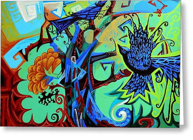 Print On Acrylic Greeting Cards - Gargoyle Crows Greeting Card by Genevieve Esson