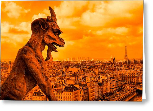 Francais Greeting Cards - Gargoyle Guardian of Paris Greeting Card by Mark Tisdale