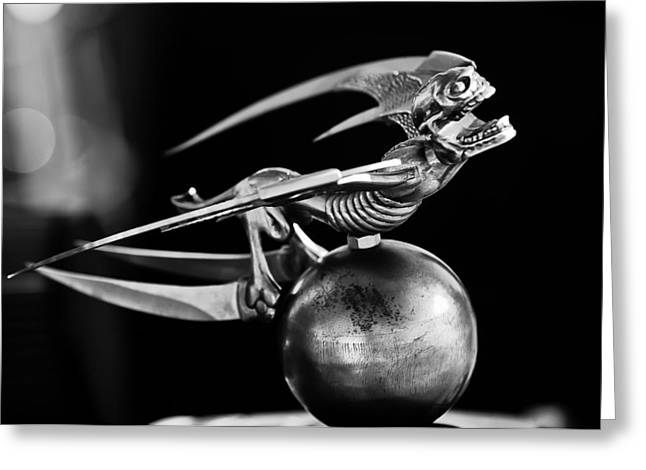Car Mascot Greeting Cards - Gargoyle Hood Ornament 2 Greeting Card by Jill Reger