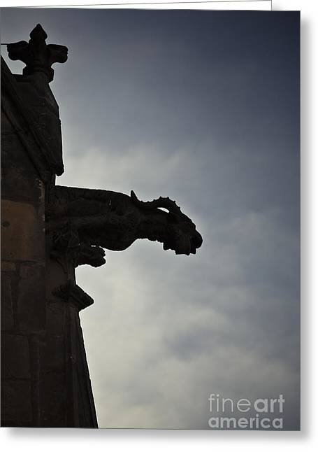 Medieval Temple Greeting Cards - Gargoyle Greeting Card by Maria Heyens