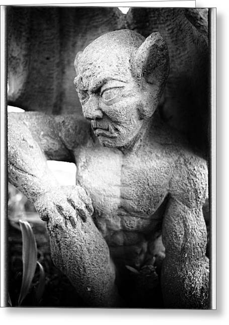 Frowning Greeting Cards - Gargoyle Greeting Card by Niels Nielsen