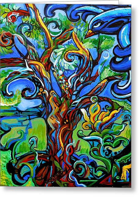 Mix Medium Paintings Greeting Cards - Gargoyle Tree With Crow Greeting Card by Genevieve Esson