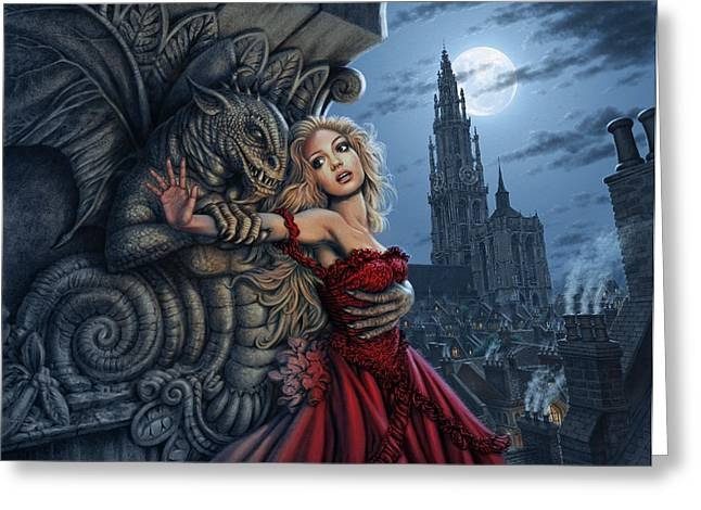 Nightmare Illustration Greeting Cards - Gargoyles Embrace Greeting Card by Steve Read