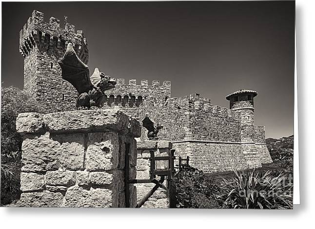 Calistoga Greeting Cards - Gargoyles on a Castle Wall Greeting Card by George Oze