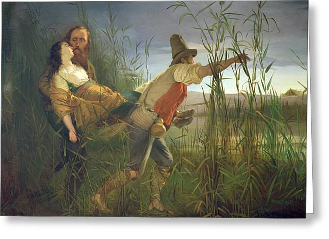 Romanticism Greeting Cards - Garibaldi Carrying His Dying Anita Through The Swamps Of Comacchio Oil On Canvas Greeting Card by Pietro Bauvier